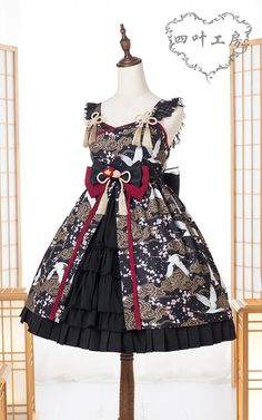 Yotsuba -The Spring Cranes- Wa Lolita Jumper Dress Version II,Lolita Dresses, Frilly Dresses, Cute Dresses, Vintage Dresses, Lolita Style, Gothic Lolita, Harajuku Fashion, Lolita Fashion, Old Fashion Dresses, Jumper Dress