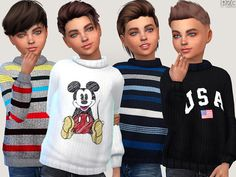 The Sims 4 Winter Sweaters For Boys Sims 4 Toddler Clothes, Sims 4 Cc Kids Clothing, Sims 4 Mods Clothes, Kids Clothes Boys, Toddler Boy Outfits, Kids Outfits, Kids Boys, Sims 4 Cas, Sims Cc