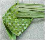 weaving a flax flower step 11