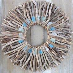 22 Driftwood Wreath with Sea Glass Accents Maine