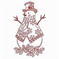 Redwork Winter Snowman embroidery design