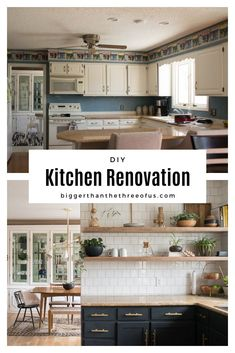 Our Kitchen Renovation with Dark Cabinets featured DIY open shelving, painted cabinets, wall tile and more! See how this budget kitchen remodel turned out. See this Kitchen Renovation with Dark Cabinets, open shelving, painted cabinets and more! Eclectic Kitchen, Home Decor Kitchen, New Kitchen, Kitchen Ideas, Budget Kitchen Remodel, Kitchen On A Budget, Layout Design, Freestanding Kitchen, Ikea