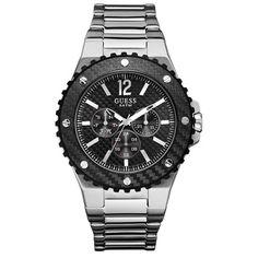 GUESS ανδρικό ρολόι με μπρασελέ και μαύρο καντράν. Θα το βρεις στο e-shop 238dc80e256