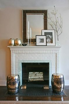 Traditional Fireplace w/ brick. Like front porch possibly.