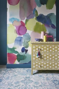This colorful Bluebellgray's Big Rothesay wallpaper is one of the top wallpaper trends this year.