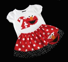 Boutique... ELMO... Birthday outfit... Sesame street inspired. $45.00, via Etsy.