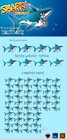 Shark sprite sheet