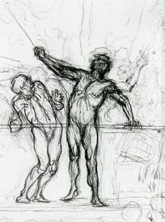Study for the Parade Honore Daumier Gesture Drawing, Guy Drawing, Life Drawing, Figure Drawing, Human Figure Artists, Caricature, Honore Daumier, Free Hand Drawing, Art Database