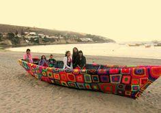 Lovely Crochet art work on boat