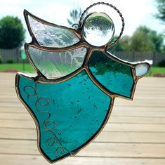 Teal angel stained glass suncatcher | Flickr - Photo Sharing!