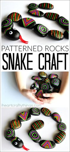 Awesome patterned rocks snake craft! It's a busy bag and kids craft rolled into one. Make patterns, move the rocks into shapes to make a circle snake or a square... Fun boredom buster summer activity for kids.