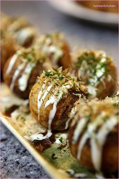 Takoyaki- delicious Japanese dish made of octopus! I loved these in Japan!