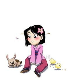 hee hee Little Mulan with puppy Little Brother disney princess   Tumblr