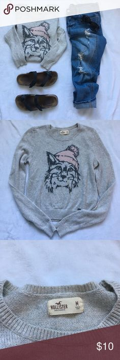 Hollister kitty Christmas sweater Long sleeve tan colored Christmas sweater featuring a cat in a beanie. Material is super warm, but also thin so it's great to pair with a coat! There is a small yellow stain on the cats mouth which can't be taken out, but is honestly not that noticeable. Other than that, sweater is in great condition. Hollister Sweaters Crew & Scoop Necks