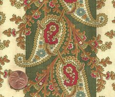 detail - Antique 1870 Paisley Motif in A Striped Layout Fabric | eBay seller paris0813