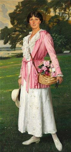 ▴ Artistic Accessories ▴ clothes, jewelry, hats in art - Harald Slott-Moller | Portrait of My Daughter, 1921