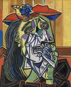 """Pablo Picasso «Mujer llorando» 1937 Tate Gallery, Londres. Fuente: http://www.tate.org.uk Como sucede en el dibujo infantil, aquí todo está en un mismo plano en el que se muestran a la vez diferentes perspectivas, eligiendo siempre la más reconocible. Los cabellos, las cejas y las pestañas están dibujados uno a uno. El pañuelo y las manos que lo sostienen son """"transparentes"""", nos dejan ver lo que hay debajo."""