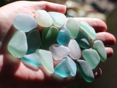 Loose Sea Beach Glass Bulk, Mixed Colors including Teal, Aquas, Sea Greens, Sea Foam Green, Pale Lilac and White, Genuine Japanese Sea Glass by KominkaStudio on Etsy