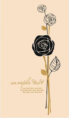 Handpainted rose pattern draft line 01 450x763 バレンタインカードのデザインに!バラのベクターイラスト素材まとめ(AI・EPS) Free Style
