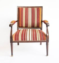 A Regency Mahogany Gainsborough Armchair Upholstered in Turkish Striped Weave | Chairs | Furniture | Antiques | Robert Kime Ltd. | Antiques | Fabrics | Wallpapers | Furniture | Lighting | Carpets | Accessories |