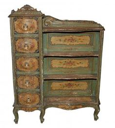 Antique Venetian Painted Étagère 19th Century Venetian Étagère featuring hand-painted floral detailing, hand-carved scrolling designs and original patina on cabriole legs.  Four open shelves and five drawers provide plenty of storage for small items c.1890 Measurements: 39W x 10D x 47H