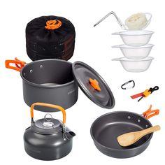 Faltbare Campingt/öpfe Powen Camping Kochgeschirr T/öpfen Leicht Aluminium Campinggeschirr Outdoor Koch Geschirr
