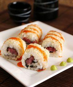 Spicy Tuna Roll, with a Sriracha Wasabi Sauce