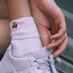 Cherry socks and white sneakers Nike Shoes Outfits, Cute Outfits, Stylish Outfits, Girl Outfits, Cherry Baby, Cherry Kiss, Cherry Cherry, Cherry Blossom, Accesorios Casual