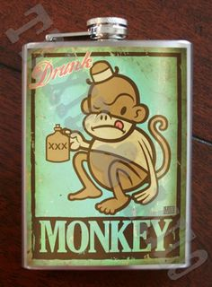 Drunk Monkey - Stainless Steel Flask - 8oz.