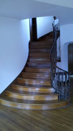 Admiring the most beautiful residential staircase in Portland.