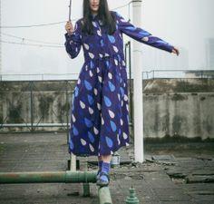 Blue spring rain drop dress