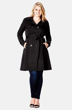 $149, Black Trenchcoat: City Chic Corset Back Trench Coat. Sold by Nordstrom. Click for more info: https://lookastic.com/women/shop_items/89081/redirect
