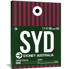 Naxart 'SYD Sydney Luggage Tag 2' Graphic Art on Wrapped Canvas Size: