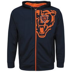 Mens Chicago Bears Majestic Navy Blue Coverage Sack IV Synthetic Full Zip Hoodie