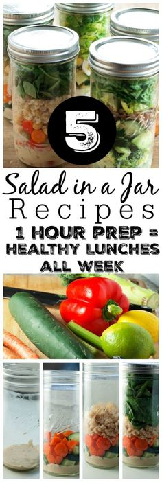 5 Salad in a Jar Recipes--one different recipe for every day of the work week. This post gives you step-by-step instructions on this great idea for prepping for one hour on Sunday and having a healthy lunch ready for you every day. These recipes are all gluten-free and vegan friendly.