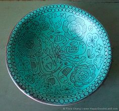 Turquoise Color Wooden Doodle Bowl | by Flora Chang, Happy Doodle Land