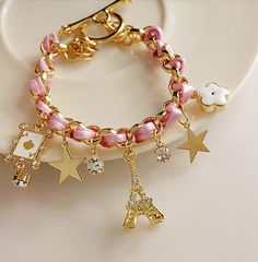 Girly Paris Inspired Charmed Bracelet in Pink                                                                                                                                                                                 More