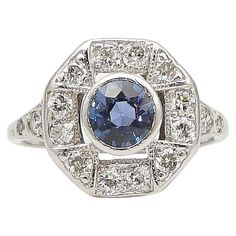 Art Deco Cornflower Blue Sapphire  Diamond Ring i | From a unique collection of vintage engagement rings at https://www.1stdibs.com/jewelry/rings/engagement-rings/