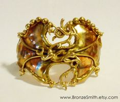 Bronze and Copper Dragon Cuff  Bracelet by BronzeSmith on Etsy