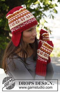 """Moufles et bonnet DROPS avec cache-oreilles et jacquard norvégien, en """"Karisma"""". ~ DROPS Design"""