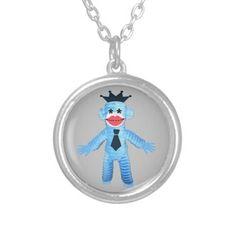 Ruffy Jazzy Blue Monkey Fun Crown Hat & Tie Round Pendant Necklace