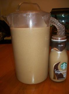 Actual recipe: Starbucks frappuccino:  10 cups fresh coffee + 1/2 cup of brown sugar + 1/2 cup of white sugar + 1/2 cup of French Vanilla Coffee Creamer... while coffee is brewing, combine brown sugar and white sugar in a pitcher; pour hot coffee directly into pitcher so the sugar dissolves, then stir; add creamer and stir again; refrigerate overnight....YES!!