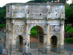 Arch of Constantine. Arch of Constantine was erected in 315 AD to commemorate Emperor Constantine I's victory over Emperor Maxentius. The battle marked the beginning of Constantine's conversion to Christianity. According to chroniclers, Constantine had a vision that God promised victory if his army daubed the sign of the cross on their shields.