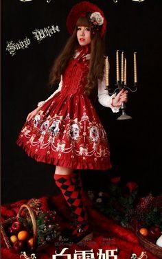 Wine Infanta Snow White JSK Dress ~ this link goes to a seller that I am not 100% sure is or is not a knock-off but at least last time I checked you could still purchase the dress!  It goes for all the surrounding photos of this dress as well.