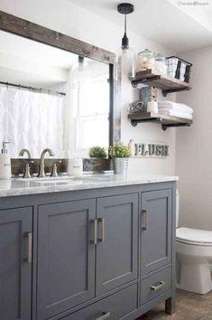 Bad Inspiration, Bathroom Inspiration, Bathroom Inspo, Mirror Inspiration, Bathroom Styling, Modern Farmhouse Bathroom, Industrial Farmhouse, Rustic Farmhouse, Farmhouse Style