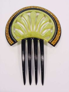 Vntg Art Deco Topaz Rhinestones Hair Comb Open Work Green Black Celluloid Book