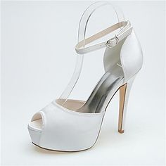 Women's Shoes Peep Toe Stiletto Heel Satin Pumps Sandals with Buckle Wedding Shoes More Colors available – USD $ 47.99