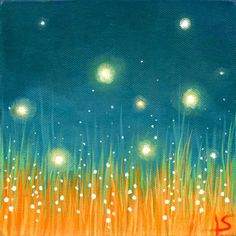 Fireflies Art Print - The Firefly Dance Firefly Painting, Firefly Art, Firefly Serenity, Crayons Pastel, Wine And Canvas, Summer Painting, Paint And Sip, Art Party, Easy Paintings
