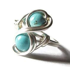 Turquoise Infinity Ring Custom Size Silver Wire by DistortedEarth, $12.00