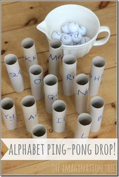 Alphabet Ping-Pong Drop Literacy Game – The Imagination Tree Super creative! {Imagination Tree} The post Alphabet Ping-Pong Drop Literacy Game – The Imagination Tree appeared first on Crafts. Literacy Games, Alphabet Activities, Kindergarten Literacy, Preschool Learning, Preschool Activities, Kids Learning, Early Literacy, Preschool Age, Learning Spanish